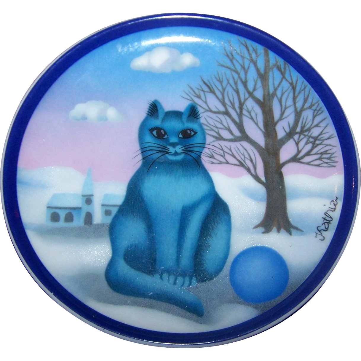 "Charming Miniature  Porcelain Blue Kitty Cat  Plate Signed ""Kathia""  Azberg Germany"