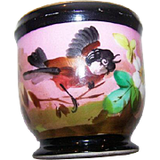 Beautiful Hand Painted Victorian Era Large Egg Cup  or small  Cache Pot - Red Tag Sale Item