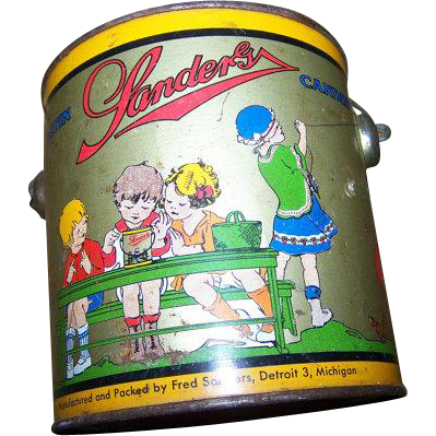 A Wonderful Rare Collectible Vintage Advertising SANDERS Candy Tin Pail