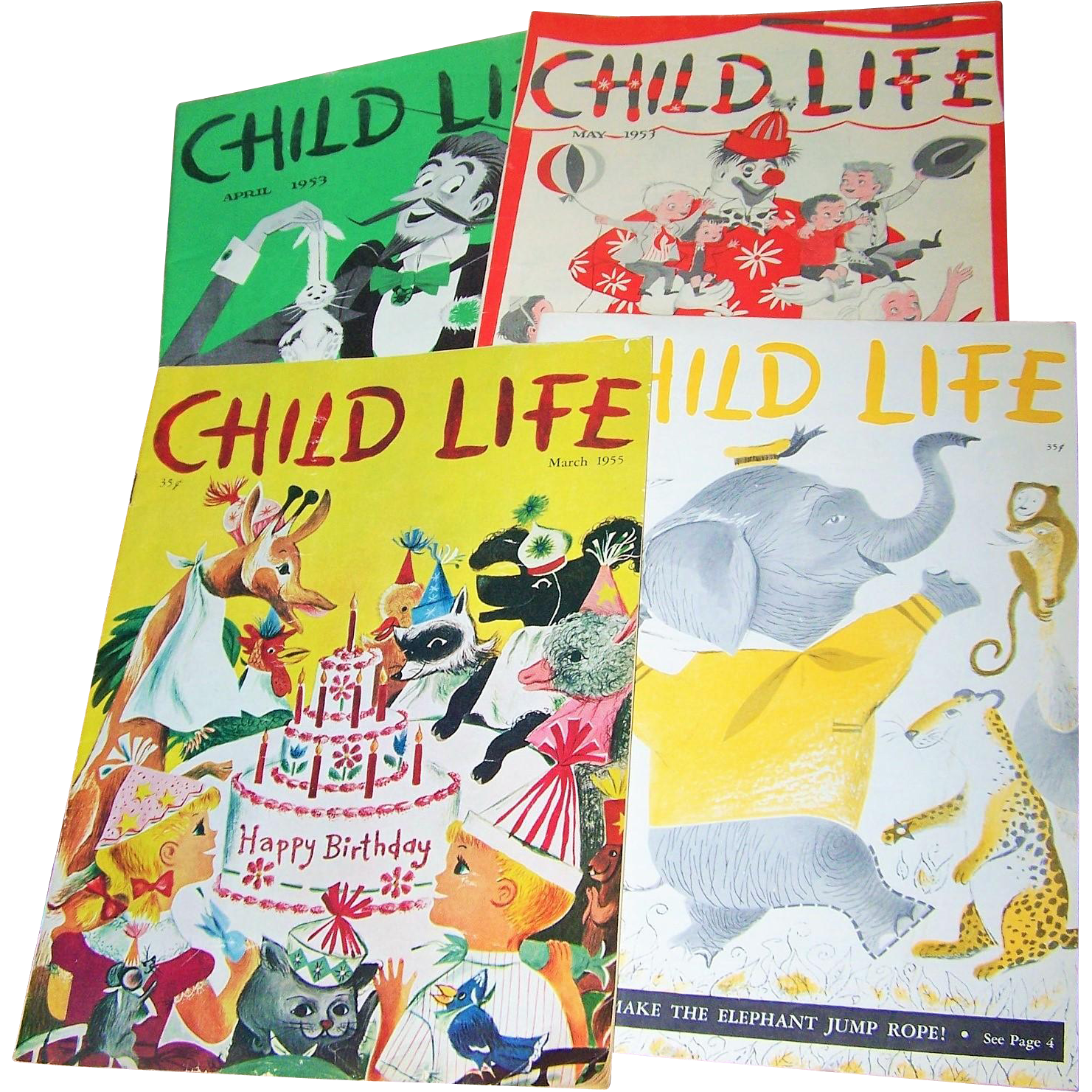 "Charming Lot of  Four  Vintage Children's Magazines "" Child Life """