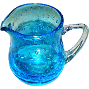 Hand Blown Pontil Artist Signed  Blue Bullicante Glass Controlled Bubbles Art Glass Pitcher