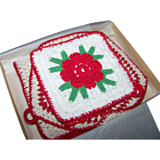 Vintage Pot Holders Hot Pads Red Rose Crochet Kitchen Pad Trio Retro Kitchen