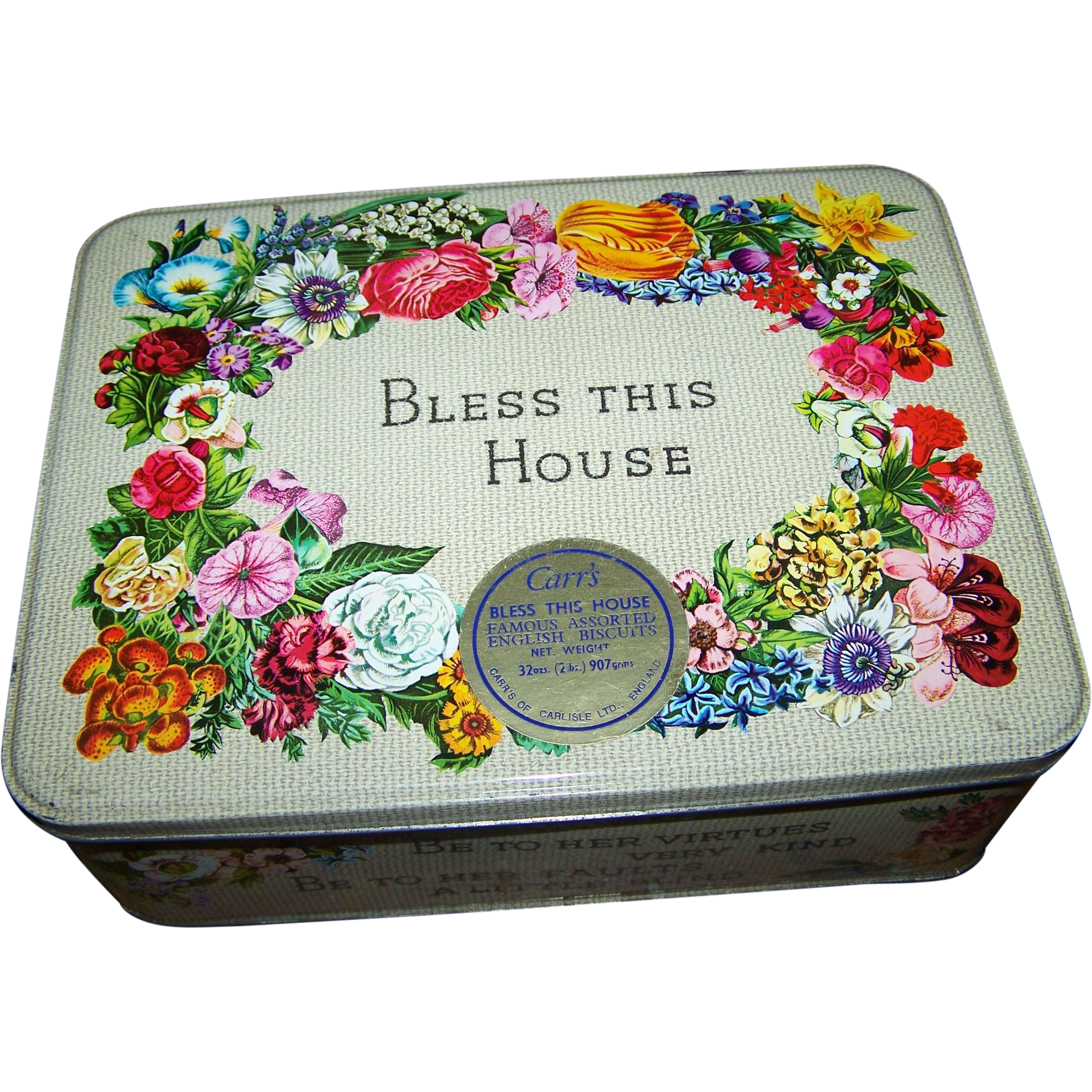 Advertising tin box bless this house carr 39 s of carlisle assorted from victoriasjems on ruby lane Bless home furniture outlet