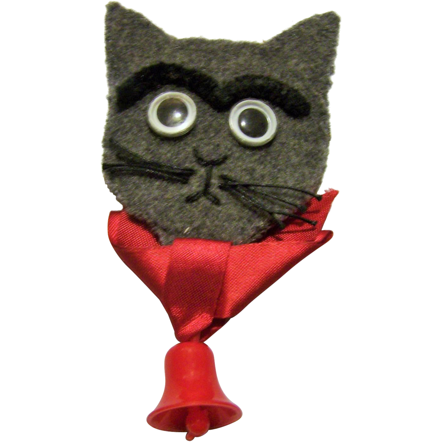 Charming Hand Crafted Vintage Kitty Cat Face Pin Brooch