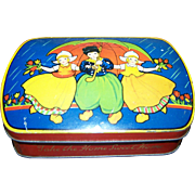 Collectible Vintage Blue Bird Toffee Advertising Tin Dutch Children Umbrella Tulips WONDERFUL !