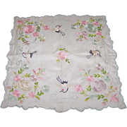 Beautiful Embroidery Floral Bird Motif Small silk Hanky Hankie Handkerchief
