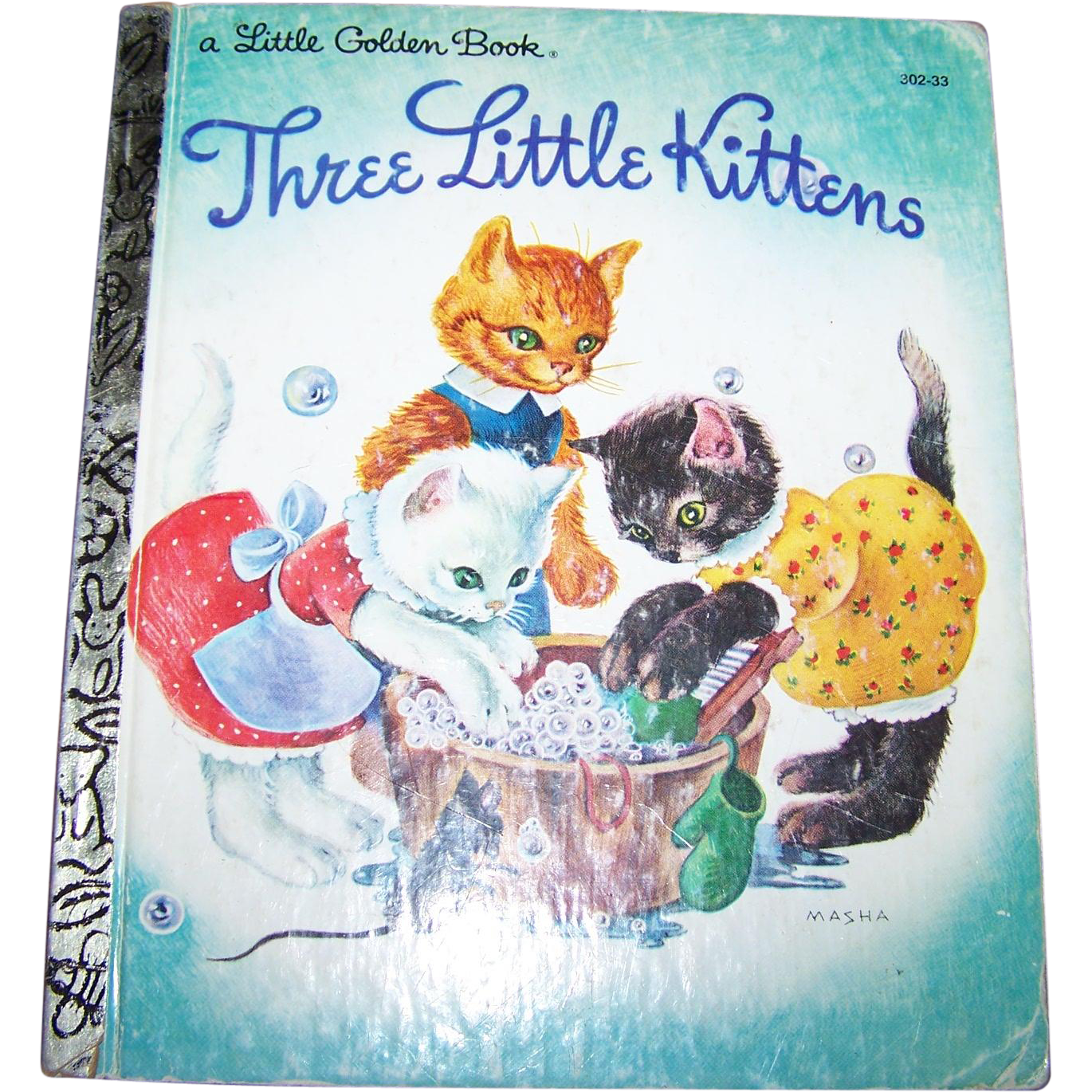 "Children's Book "" Three Little Kittens "" A Little Golden Book Illustrated by MASHA"