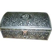 Vintage Embossed Decorative  Hump Back Tin Chest Sailing Ship Floral Decoration West Germany