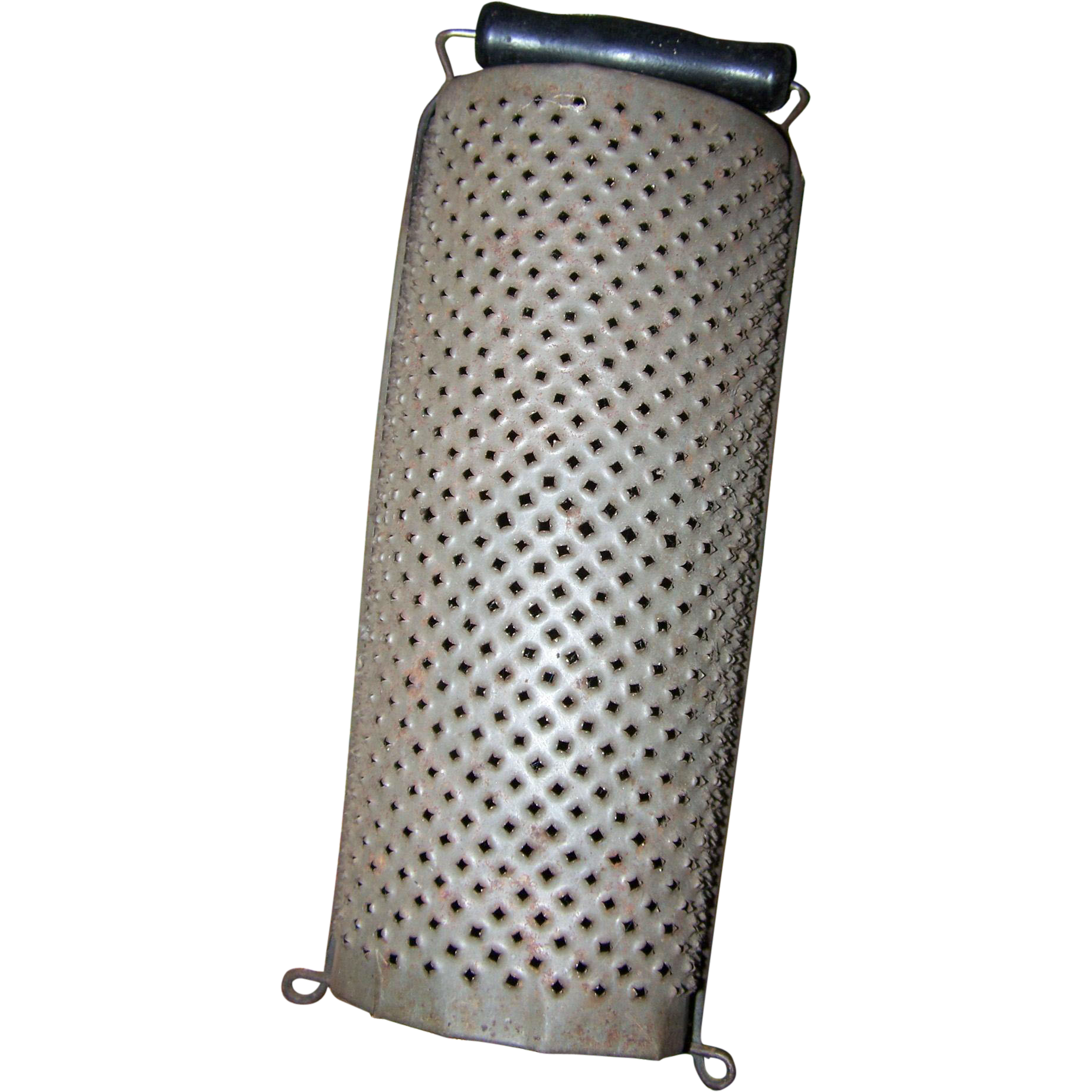Primitive Tin  Half Moon Style Grater Wood Handle