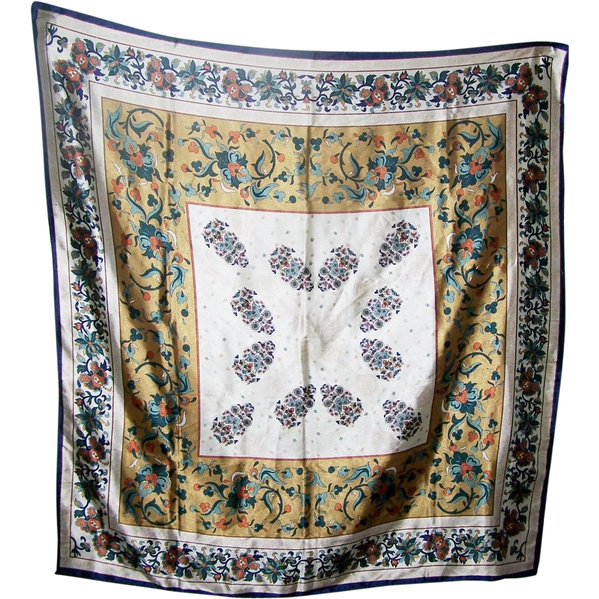 Lovely Large Silk Scarf Floral Pattern Simply Beautiful