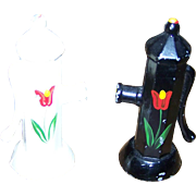 Charming Set Novelty  Cast Metal Fire Hydrant Salt & Pepper Shakers