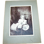 Charming Sweet Vintage Photograph Cabinet Card of Little Girl in Wicker  Pram