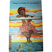 "Vintage Black Americana Linen Style Post Card "" Honey .I'se Waitin Fo' You All Here """
