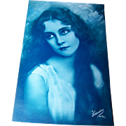 Hauntingly Beautiful Vintage Postcard Portrait of a Pretty Lady Charlie Chaplin Era