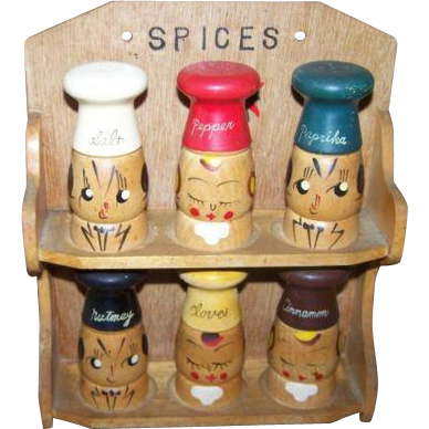 A Kitschy Kitsch  Anthropomorphic  Japan Wood Spice Hanging Rack and Spice Shakers