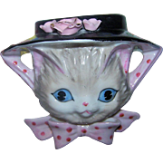 YU7764 Japan Pretty Kitty Cat Face Wearing Bonnet Ceramic Wall Pocket