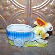 Vintage Ceramic Bunny Rabbit Cache Pot  Japan