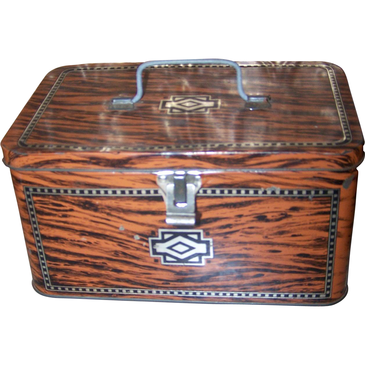 Vintage advertising tin chest lunch box faux wood art deco for L furniture warehouse victoria bc