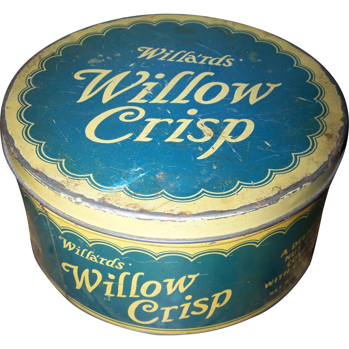 An advertising tin litho can willa 39 rds willow crisp for L furniture warehouse victoria bc