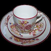 Beautiful Vintage Demi - Tasse Cup Saucer Plate Set Oriental Motif