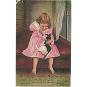 "AS IS SO Charming""Sharing A Meal "" Little Girl Feeding Her Kitty Cat Milk Post Card Postcard"