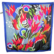 """Vintage Lou Lou Cacharel Scarf Abstract Floral 22"""" Square"""