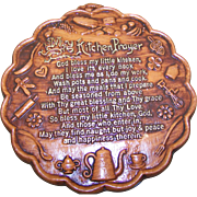 Retro Vintage Kitsch Decor Kitchen Prayer Chalkware Plaque God Bless My Little Kitchen