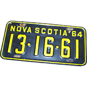 Vintage Collectible Souvenir Metal Ware Nova Scotia Canada License Plate 1964