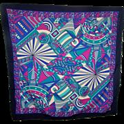 Lovely Vintage Designer Signed Akel Geometric Poly Silk Crepe Scarf