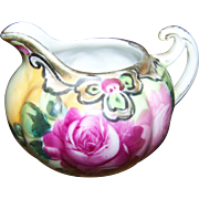 Lovely Small Ceramic Rose Floral  Nippon Era Creamer Gold Decoration