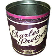 Vintage Large Advertising Tin Can No Lid Charles Pretzels Mountville PA USA
