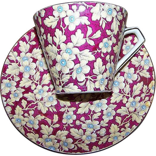 What A Pretty Royal Brocade Chintz All Over Floral Pattern Tea Cup & Saucer Lord Nelson Ware