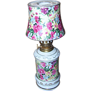 Pretty Novelty Ceramic Chintz Figural Oil Kerosene Lamp JAPAN