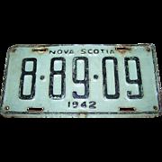 Old Collectible Metal License Plate Souvenir Nova Scotia 1942 CANADA