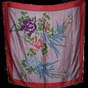 A Rather Large Beautiful Vintage Ladies Fashion Scarf Floral Design 100 % Silk