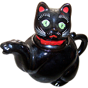 Charming Little  Vintage Shafford Black Kitty Cat Tea Pot