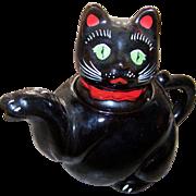 Charming Little  Vintage Shafford Black Kitty Cat Tea Pot