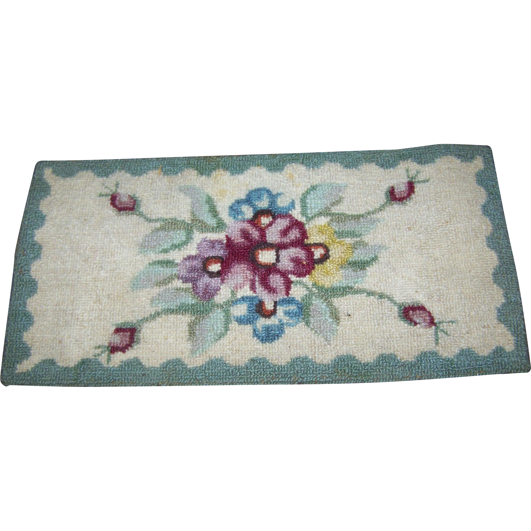 Small Vintage Hand Hooked Table Rug Mat - Nova Scotia CANADA