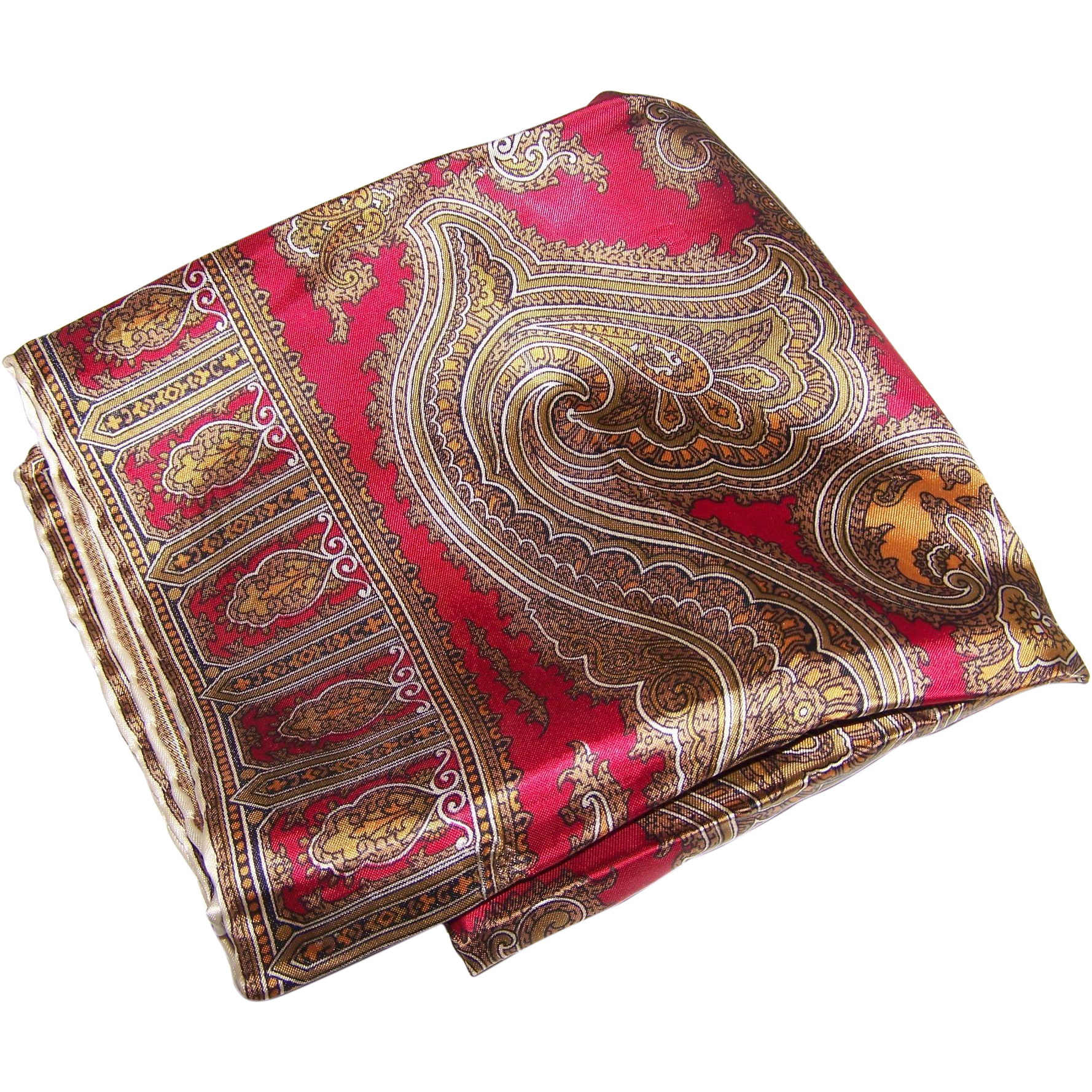 A Lovely Vintage Rich Colored  Fashion Paisley Print Scarf