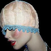 Oh So Delicate Silky Nylon Crochet Boudoir  Edwardian Flapper Girl Bed Night Cap Hat