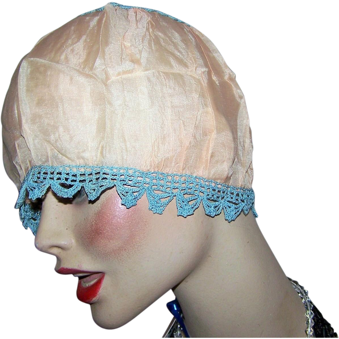 Oh So Delicate Silky Nylon Crochet Boudoir  Edwardian Flapper Girl Bed Night Cap Hat