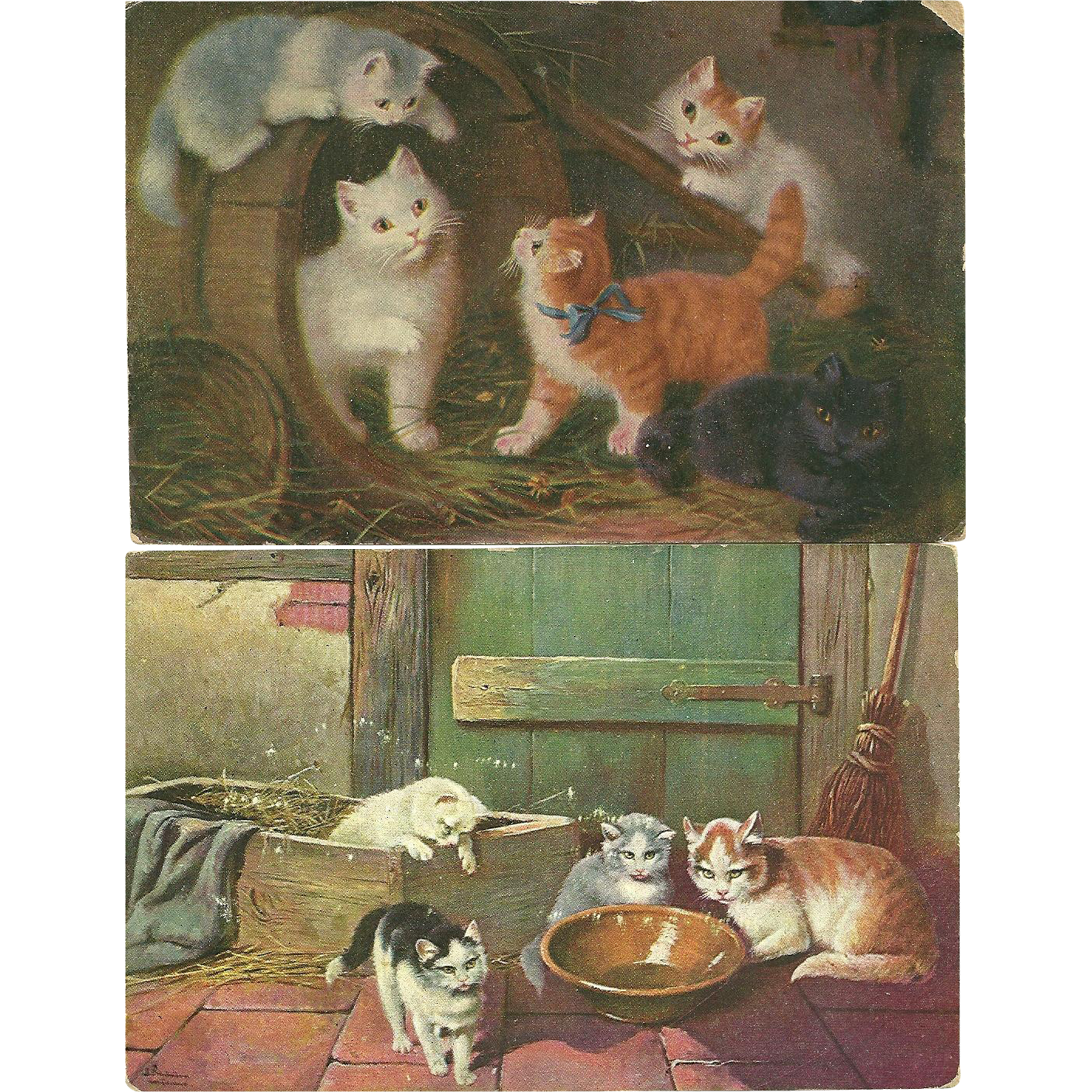 2 Charming  Vintage Kitty Cat Paper  Post Cards Postcards