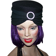 Vintage Glamorous Black Turban  Flapper Girl Style  Ladies Fashion Hat Eaton's Of Canada