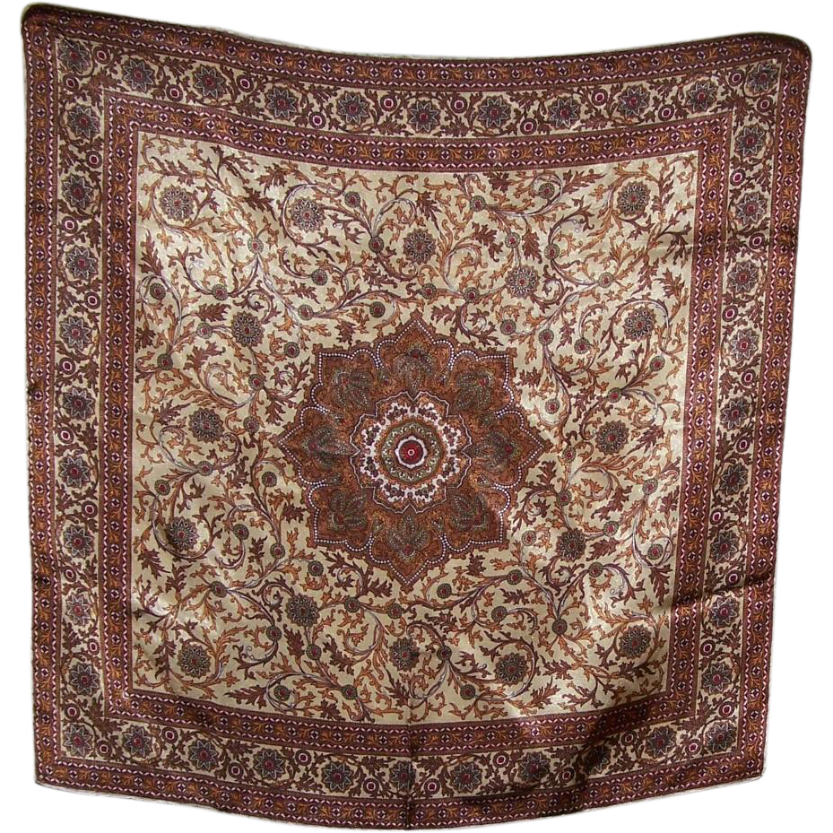Beautiful Vintage Hand Rolled Paisley Floral Style Scarf