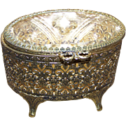 Lovely Vintage Open Work Metal Ware Ormolu StyleJewelry Casket with Beveled Glass Top C. 1950's