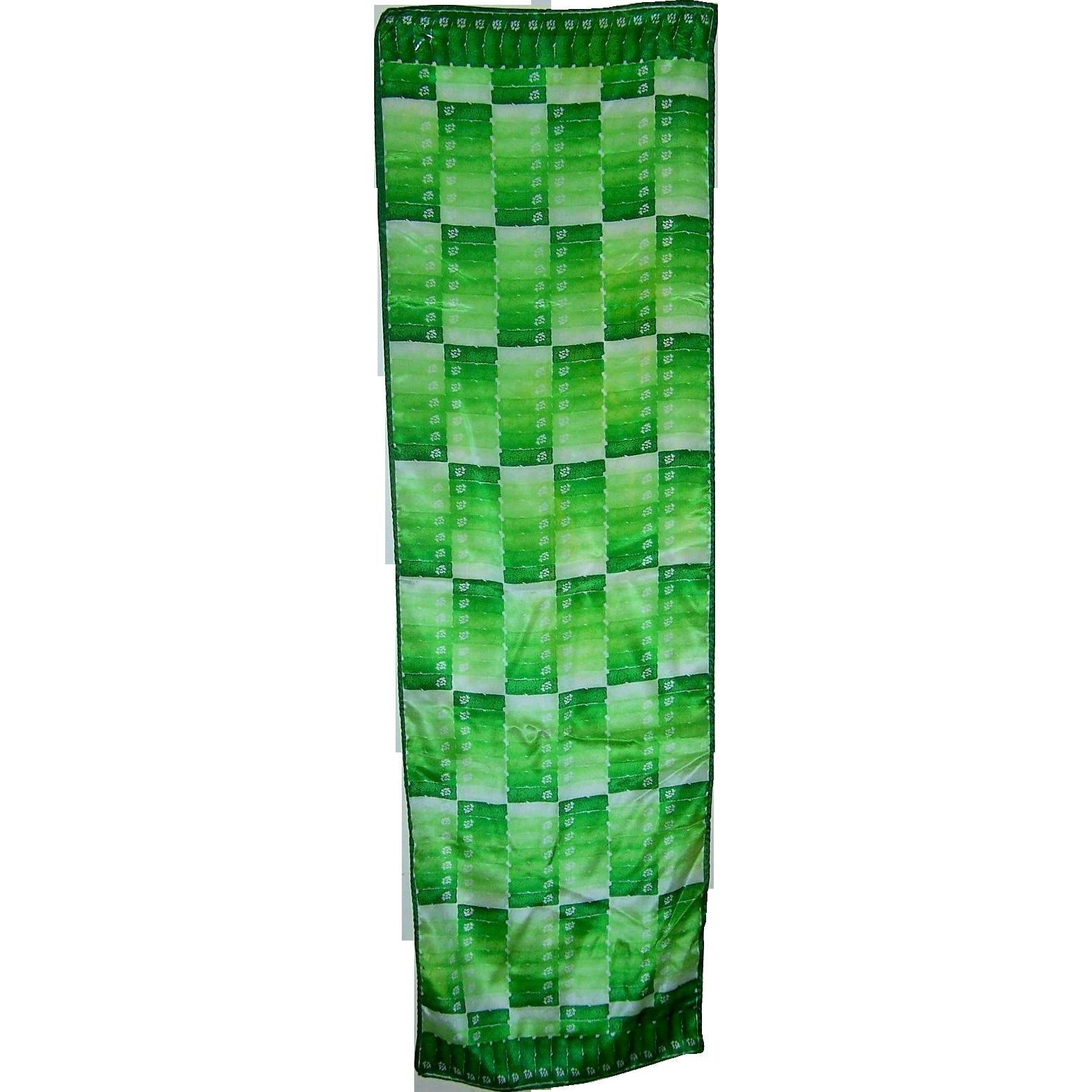 Designer Signed Anne Klein Green Floral Print Silk Long Rectangular Scarf