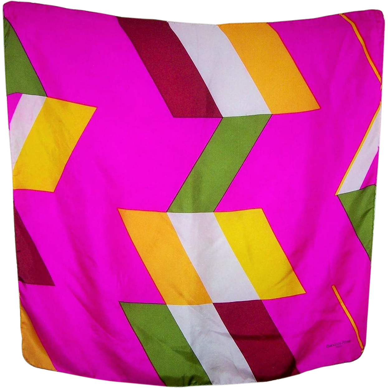 Colorful Vintage Designer Signed Geometric Scarf Bianchini Ferier Paris  SOIE France