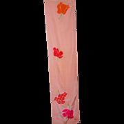Vintage Long Rectangular Signed Vera Silk Scarf Floral Pattern