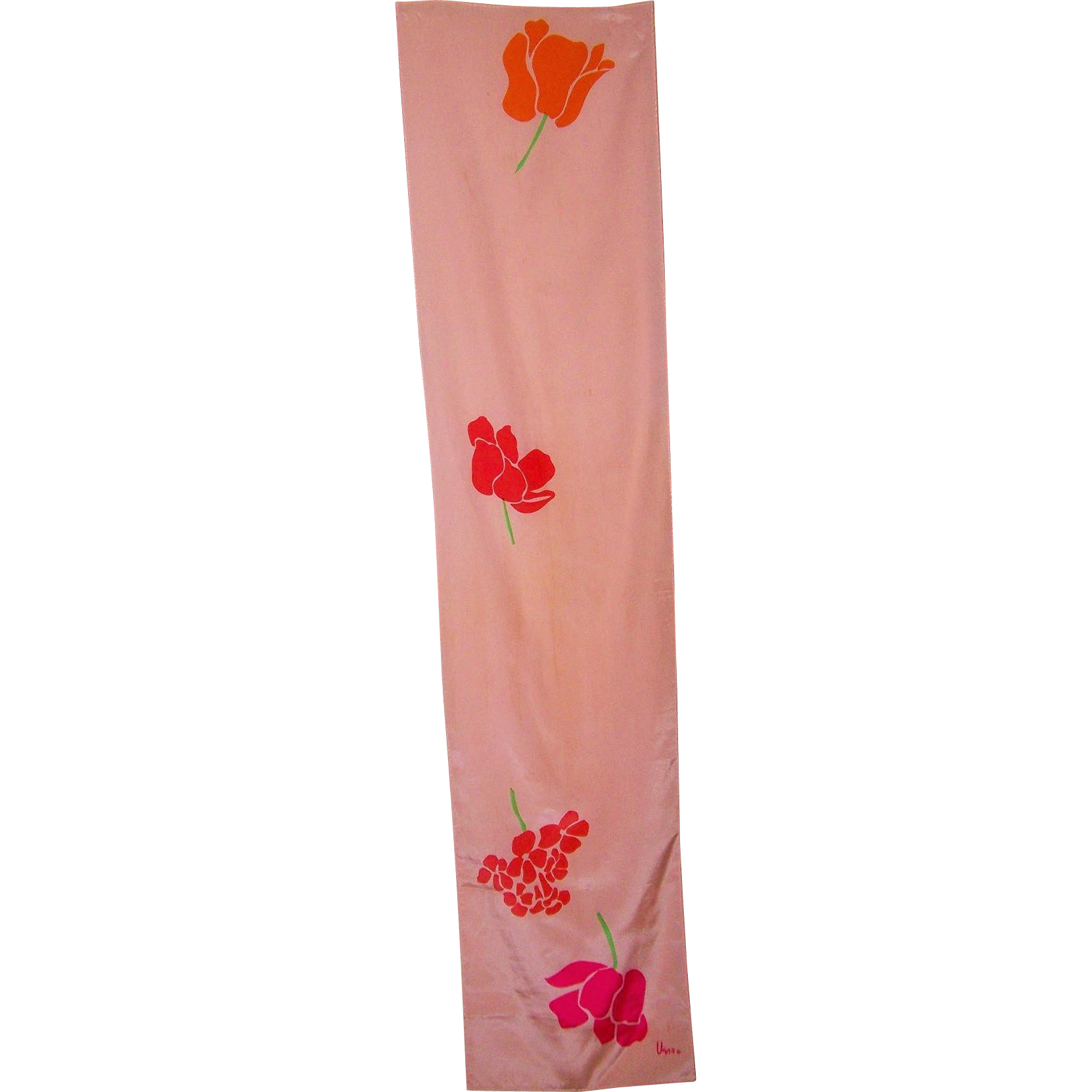 Vintage Long Rectangular Signed Vera Silk Scarf Floral Pattern