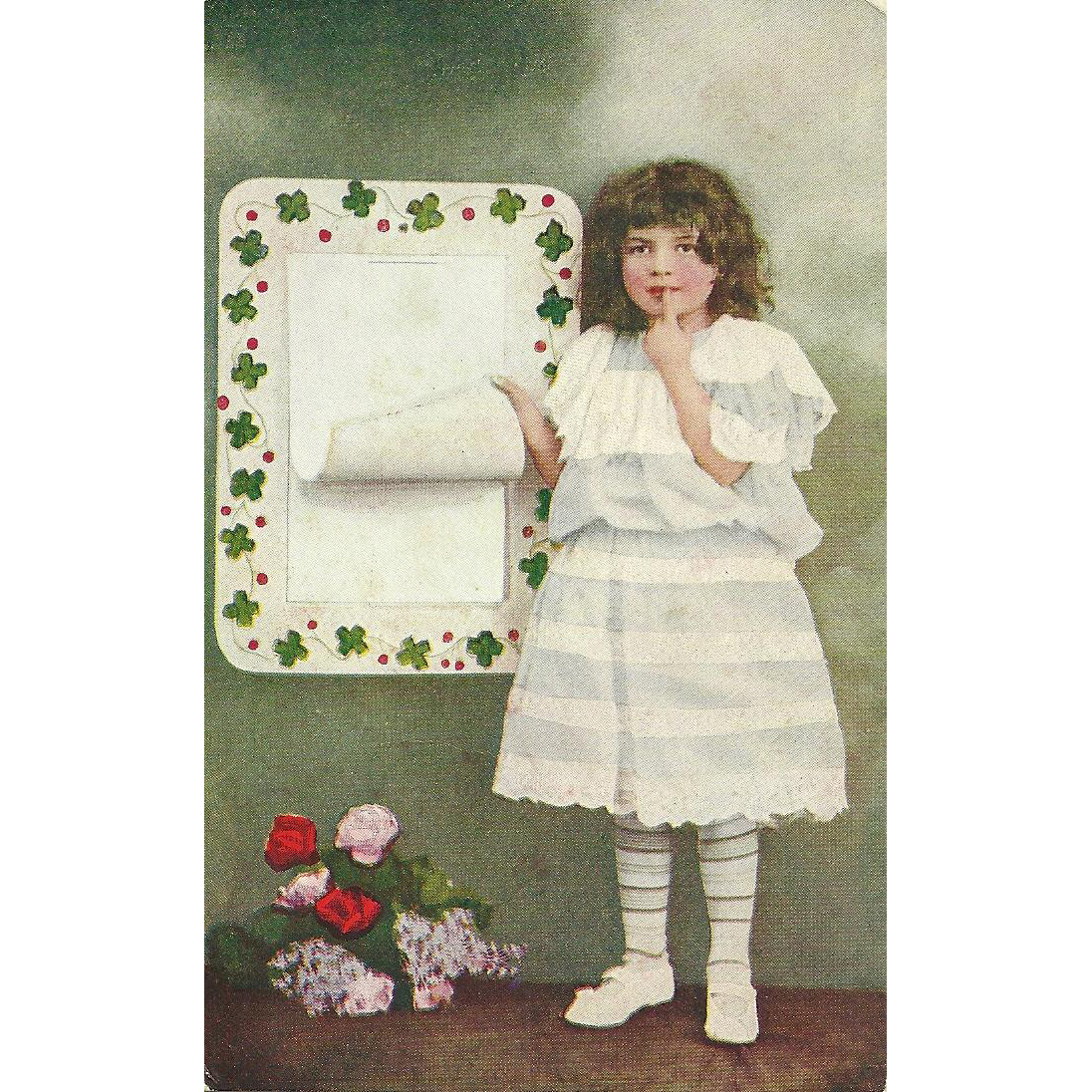 Charming Vintage Post Card Postcard Little Girl